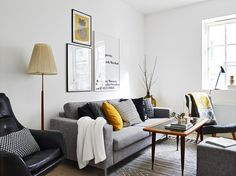 monochrome, Scandinavian with pops of yellow