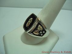 Estate Sterling Silver Onyx Ring w 10K Black Hills Gold Style Leaves Size 11 | eBay