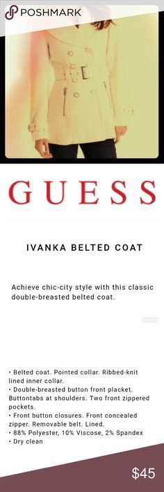 """Guess Coat in Cream/Ecru/""""Winter White"""" Beautiful winter coat!! Very warm and stylish.. ❄️Winter is coming!!❄️ (Shout out to 'Game of Thrones' 💁👍) Are you prepared? (by """"prepared"""" I mean do you have a cute Guess belted coat in the color """"winter white"""" to keep you warm?.. naturally ☃️) Get prepared!!! ☺️ Guess Jackets & Coats"""