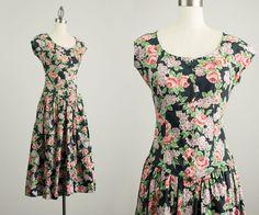 90s Vintage Floral Print Cotton Button Down by ShopCherieVintage