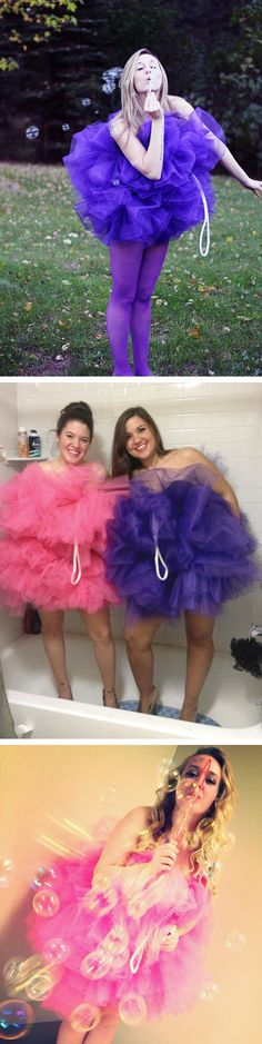 """DIY Shower Loofah / Pouf Costumes! Blow bubbles for the full """"sudsy"""" effect of…"""