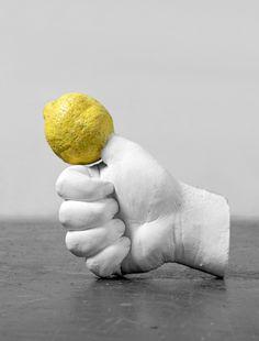 "Urs Fischer...    ""Lemon Hand"" 2006.    Hydrocal, acrylic paint, polyurethane, glue, and hair."