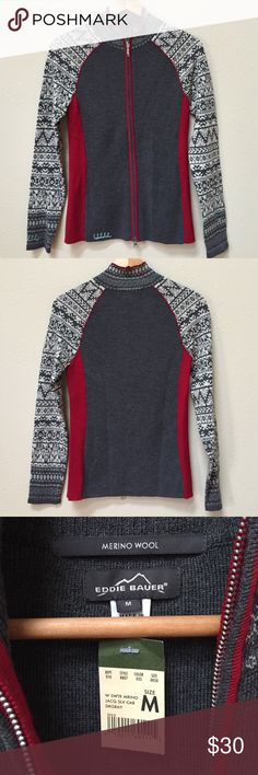 """NWT Eddie Bauer merino wool cardigan NWT Eddie Bauer gray, tan, and red merino wool zipper front cardigan sweater. Size medium. Approximate length from the shoulder is 25"""" and approximate chest measurement is 16"""". Eddie Bauer Sweaters Cardigans"""