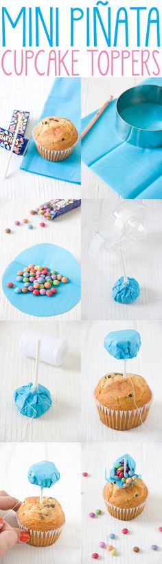 How to make mini piñata cupcake toppers filled with candies. So fun!