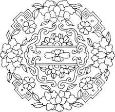 吉祥的中国图案,可以做刺绣纹样,打印放大即可