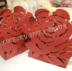 Beautifully & expertly designed Rose Flower laser cut boxes, made from rich shiny ivory cardstocks. Color-Red.