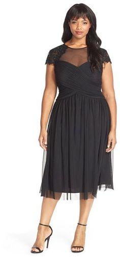 Plus Size Party Dress - Plus Size Embellished Cap Sleeve Tea Length Party Dress