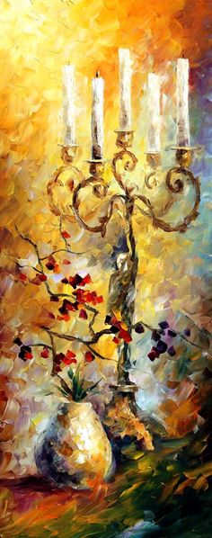 "CANDLES — Palette knife Oil Painting  on Canvas by Leonid Afremov  - Size 16""x40"""