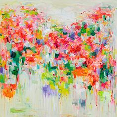 art Giclee Print- abstract oil painting- 16x16 -wall decor- wall art- spring blooming