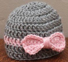 A personal favorite from my Etsy shop https://www.etsy.com/listing/269008172/crochetnewbornbowbaby-hat-baby-beanie