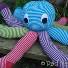 Stuffed Octupus toy! I've been wanting to make this forever but does anyone know where to buy cute girl tights! I can NEVER find any!