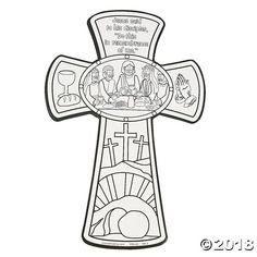Last Supper Cross Coloring Page Sunday School Projects, Sunday School Activities, Church Activities, Bible Activities, Sunday School Lessons, Easter Activities, Cross Coloring Page, Easter Coloring Pages, Bible Coloring Pages