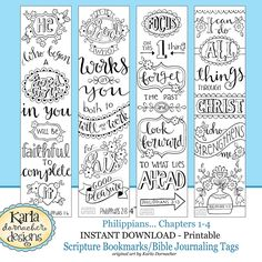 PHILIPPIANS Bible Journaling Templates Tracers Color Your Own Bookmarks Instant Download Pdf And Jpg Scripture Digital Print