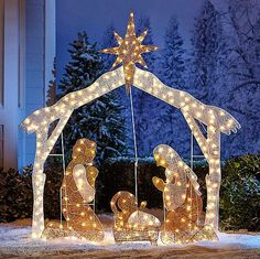 large nativity scene outdoor christmas decoration crystal light up holy family brylanehomesmartdealsmarket outdoor nativity scene