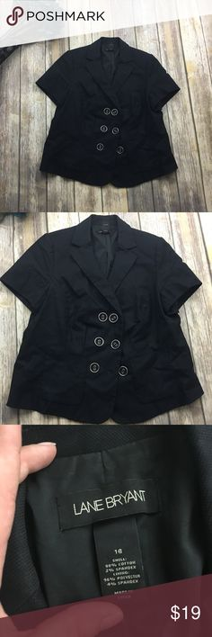 🎈 Lane Bryant Black Short Sleeve Blazer Black short sleeve blazer. Size 16. Cotton spandex and polyester material. In excellent used condition. Silver accent buttons. 23 inches long. 19 inches arm pit to arm pit. 8 inch sleeves. Lane Bryant Jackets & Coats Blazers