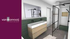 Trendy zwarte badkamer Showroom, New Homes, Bathtub, Mirror, Bathroom, Furniture, Home Decor, Standing Bath, Washroom