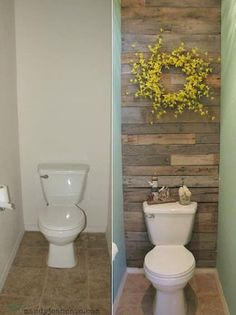 How to install a wood accent wall in your bathroom. -- A list of some of the best home remodeling ideas on a budget. Cool Ideas, Deco Wc Original, Home Renovation, Home Remodeling, Bathroom Remodeling, Remodel Bathroom, Basement Bathroom, Cheap Renovations, Basement Renovations