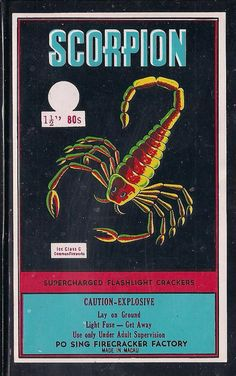 EE Vintage  SCORPION Firecracker Label  3 X 5------------- .51 Shipping