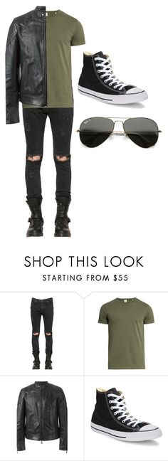 """bad boy in green"" by jaiden-ortiz on Polyvore featuring RtA, Sørensen, Belstaff, Converse, Ray-Ban, men's fashion and menswear"