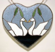 Swans in heart (great wedding/anniversary gift) [swanheart] - $65.00 : Glass Moose Cart, handcrafted glass, beads/supplies, jewelry, wood & metal art, signs