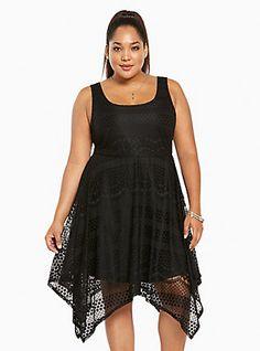 094fa181529 Plus Size All Over Lace Hanky Midi Dress