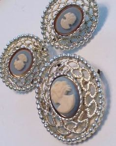 Sarah Coventry signed Victorian Revival vintage blue cameo brooch and matching clip-on earrings. Marked Sara Coventry