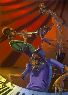 Jazz Trio by BUA - Original in Private Collection - #ART #JAZZ #MUSIC