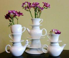 http://teatra.de playful: Teacup - teapot vases! For sale via Majesteas.