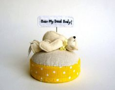 Headstrong Bear Pincushion by lifepieces on Etsy