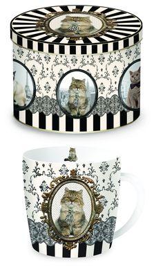 Porcelanowy kubek w blaszanym pudełku Mugs, Tableware, Gifts, Decor, Porcelain Ceramics, Dinnerware, Presents, Decoration, Tumblers
