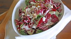 Radicchio, Watercress and Fennel Salad: 1/2 cup olive oil 2 tablespoons balsamic vinegar 2 tablespoons red wine vinegar 2 teaspoons minced garlic 1/2 teaspoon salt 1 small to medium head radicchio, cored and chopped 1 bulb fennel, halved and thinly sliced 1 bunch watercress, stems removed 1/2 cup crumbled feta cheese 1/4 cup walnut pieces 2 heaping tablespoons dried cranberries DIRECTIONS Combine olive oil, balsamic vinegar, red wine vinegar, garlic and salt in a sealable jar. Seal jar…