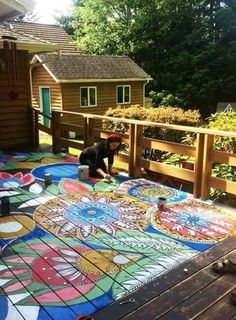 30 Hippie House Ideas - Hippie decoration is flexible design that can be applied in the several furniture choosing. Designing the hippie decoration in the room shouldnt be a. by Joey Painting Tile Floors, Painted Floors, Deck Painting, Painted Rug, Hand Painted, Outdoor Spaces, Outdoor Living, Outdoor Decor, Outdoor Decking