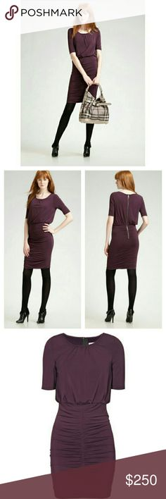 Burberry Brit Women's Plum Ruched Blouson Dress Burberry Brit Women's Plum Ruched Blouson Dress. Short sleeve. Exposed back zip. Tonal stitching throughout. Crew neckline. 96% Viscose, 4% Elastane; Lining 100% Polyester. EUC.  Bust 38 Waist 32 Hip 38 Length 41  Offers considered  Bundle Discount  No Trade or PP Burberry Dresses