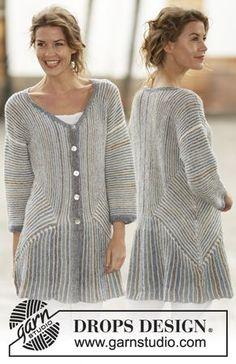 """Lady Grey - Strikket DROPS jakke i """"Fabel"""" med striper, riller og dominoruter. Str S - XXXL. - Free pattern by DROPS Design"""