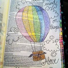 Set your minds on things that are above, not on things that are on earth. 🎈 #Colossians 3:2 #bibleart #illustratedfaith #biblejournaling #biblejournalingcommunity #coloredpencil #setyourmindonthingsabove #doodles #clouds #tryingtobeartsy #rainbow #balloon