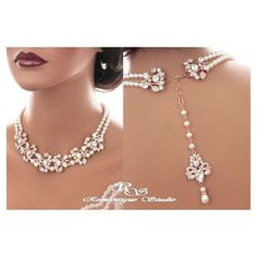 This absolutely stunning statement bridal necklace I designed with vintage style rhinestone components and lustrous Swarovski crystal pearls.