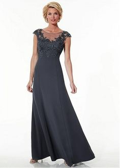 $139.99 Chiffon A-line Gown Beteau Neckline Floor-Length Mother Dress