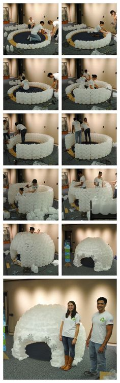 This milk jug reading Igloo was made with 430 milk jugs by Re-Play Childrens Tableware. It took about 4 ppl and five hours to build. It now resides at Down Town Orlandos public Library. This is such a fun craft to make for a class room/library. Kids absolutely love it.