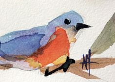 Bluebird no. 99 original bird watercolor painting Angela Moulton ACEO Art #Impressionism