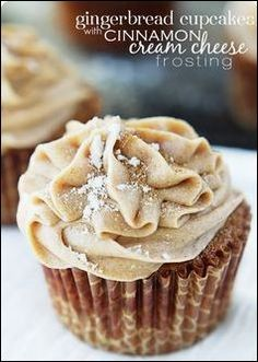 #1....GINGERBREAD CUPCAKES with CINNAMON CREAM CHEESE FROSTING......INGREDIENTS 1 cup butter, softened 1 cup packed brown sugar 2 eggs 1 cup water 1 cup molasses 2⅔ cups all-purpose flour 1½ teaspoons ground cinnamon 1 teaspoon baking powder 1 teaspoon baking soda 1 teaspoon salt 1 teaspoon ground ginger 1 teaspoon ground nutmeg ½ teaspoon ground allspice....INSTRUCTIONS In a large bowl, cream butter and brown sugar until light and fluffy. Beat in eggs. Beat in water and molasses. Combine…
