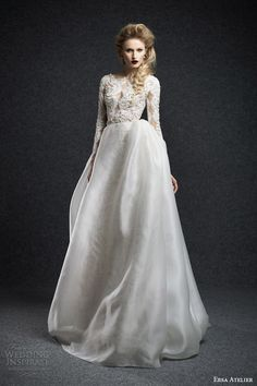ersa atelier fall 2015 ena long sleeve wedding dress lace illusion bodice sheer overlay skirt