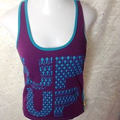 WOMEN'S ZUMBA WEAR RACERBACK TANK XL Up Down Purple Teal Arrows Work Out Top #Zumba #ShirtsTops