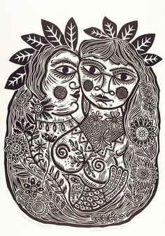 Lovers with a bird, from the portfolio Twelve linocuts, a suite of prints (1990) - Barbara Hanrahan