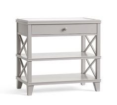"Clara Wide Bedside Table | 32""w X 18""d X 30""h; $499 +20 delivery surcharge; white glove delivery. Pottery Barn (7/16)"