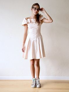 Pale pink vintage 80s shawl prom dress with bow detail