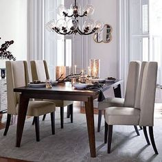 """Angled-Leg Expandable Table with Drop Leaf (42""""-66""""-90""""), Chocolate, West Elm - Dining Room Tables - Kitchen Tables"""