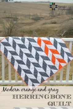 and grey herringbone quilt - NewlyWoodwards Orange and gray herringbone Great color combination and patternOrange and gray herringbone Great color combination and pattern Quilting Tips, Quilting Projects, Quilting Designs, Sewing Projects, Quilt Baby, Quilt Modernen, Quilt Making, Quilt Blocks, Sewing Patterns