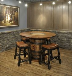 Rustic Patio Furniture Ideas Whiskey Barrels 60 Ideas For 2019 Whiskey Barrel Table, Whiskey Barrel Furniture, Whiskey Barrels, Wrought Iron Garden Furniture, Patio Furniture Sets, Furniture Decor, Whisky, Pool Table Room, Painting Antique Furniture