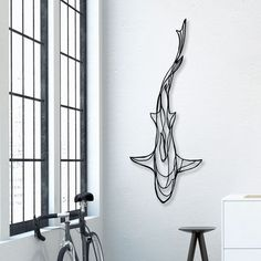 Shark Wooden Wall Art - Display your love of the deep blue sea with the Shark Wooden Wall Art! A fitting tribute to the magnificence of the most feared underwater predator, this designer wall art 3d Wall Art, Wooden Wall Art, Wooden Walls, Wall Art Sculpture, Colorful Wall Art, Metal Walls, Wooden Signs, Stylo 3d, Simple Line Drawings