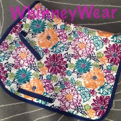 Bold floral patterned English saddle pad by WhinneyWear   www.whinneywear.com